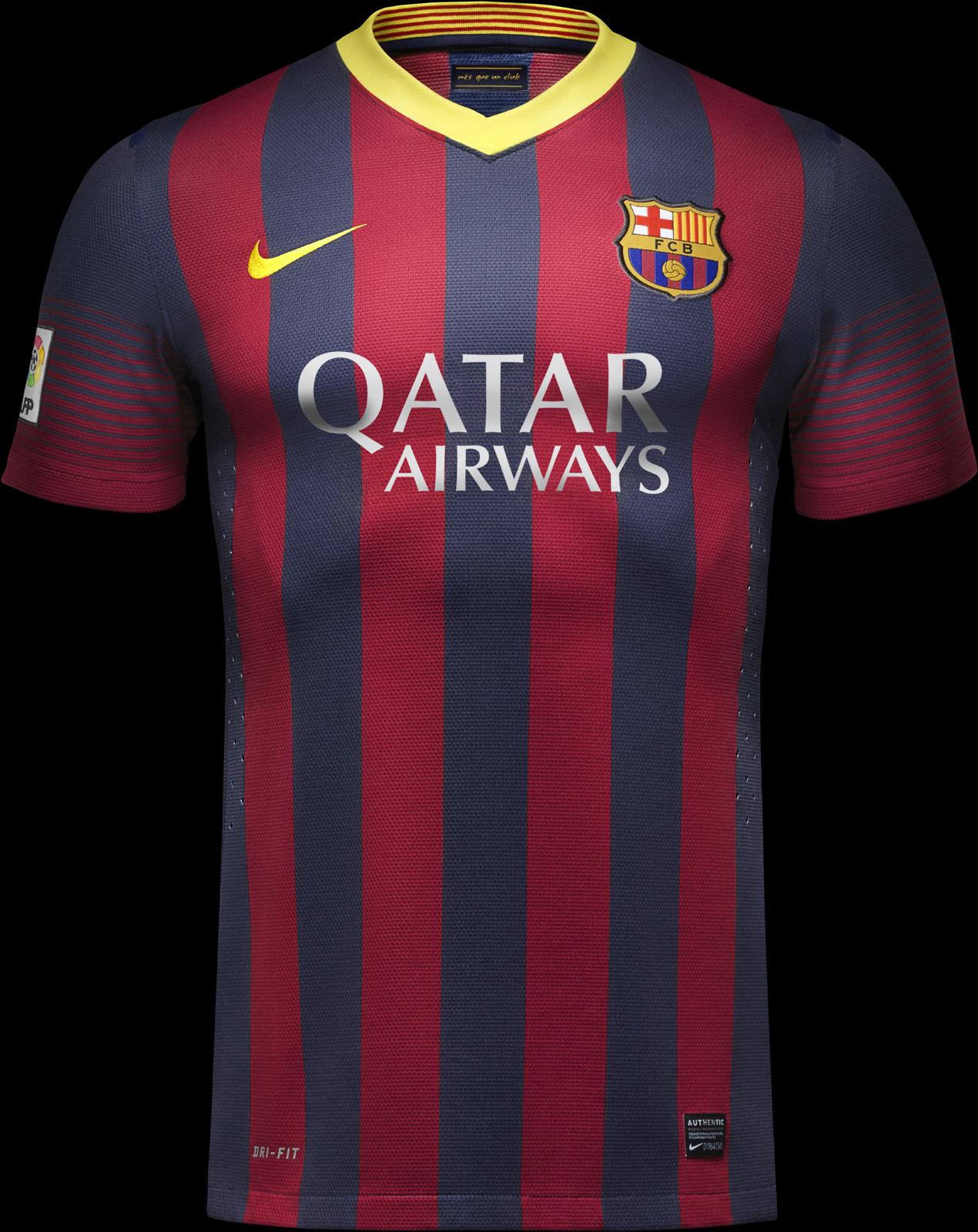 Barcelonský dres na hrudi s komerčným sponzorom (voetbalshirts.com)