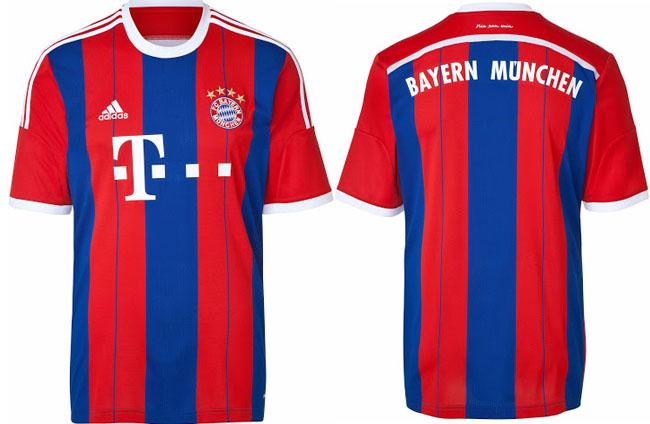 Dres Bayernu Mníchov s logom ich sponzora v strede (yeswefoot.com)