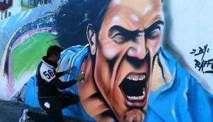 Edinson Cavani v podaní Street Artu (corrieredelmezzogiorno.corriere.ti)