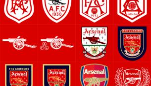Vývoj loga Arsenalu Londýn (bodybuilding.com)